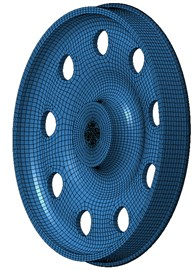 Boundary element model of wheels with 9 holes