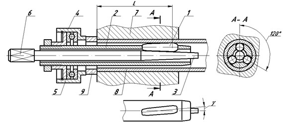 Scheme of roll-forming of tube attachment assembly into the tube sheet:  1 – roller, 2 – body, 3 – spindle, 4 – race, 5 – rolling bearing, 6 – shank end, 7 – tube sheet, tube