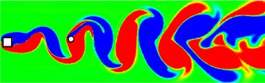 Instantaneous vorticity contours for the WIV system at different cases