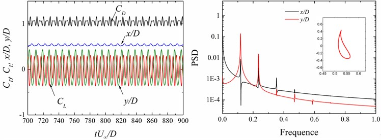 Time history of the force coefficients (CD, CL) and displacements (x/D, y/D) and power spectral density (PSD) functions of the displacement signals (x/D, y/D) at different cases