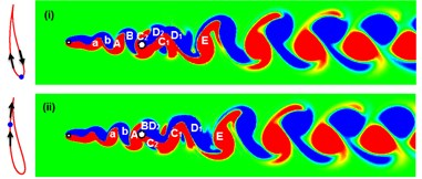 Instantaneous vorticity developments for the WIV system at Re= 120, d/D= 0.5 and Ur= 9