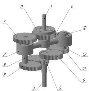 Balanced planetary gear: a) kinematic scheme, b) design