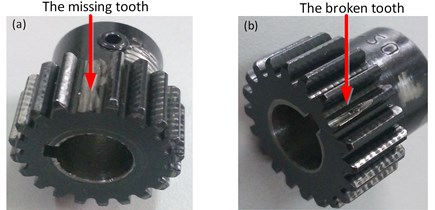 The physical map of experimental gears: a) missing tooth, b) broken tooth