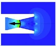 Normal shock wave inside nozzle