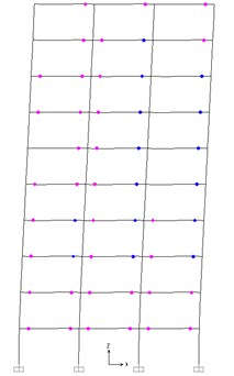 Plastic hinge distribution of PBPD frame