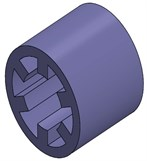 The structure of a 6/4-pole SRM experimental prototype: a) shell which contains ribbed frame  and base, b) stator, c) windings, d) a 6/4-poles SRM