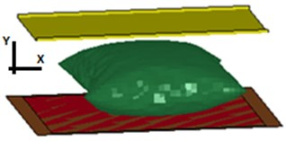 a) Isometric view of squeezed airbag using a rigid impactor with Lloyd EZ20 machine,  b) finite element mesh of the airbag and the rigid wall