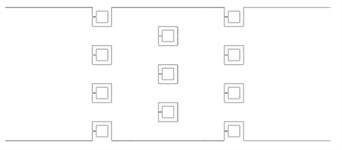 3D numerical models with different array configurations (top view)