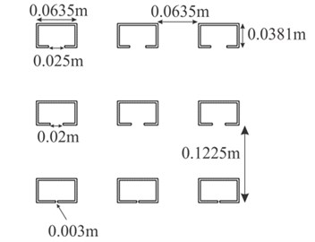 a) 2D numerical model of the SC window, b) enlarge view of the SC window.  Only 3 columns of the SCs are shown for clearer presentation of the model