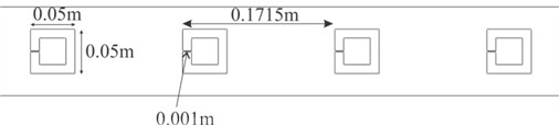 3D numerical model with Helmholtz resonators (top view)