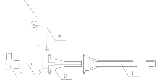 The schematic diagram of blasting device: 1 – explosion guide device;  2 – base; 3 – shock tube; 4 – excitation device; 5 – guiding device