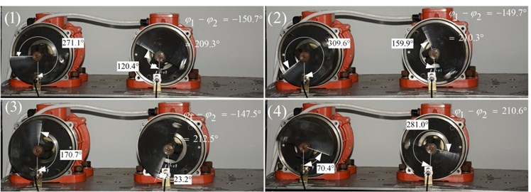 Phases of two exciters with frequency supply 1400 r/min in steady state  after the power supply of Exciter 1 is shut off