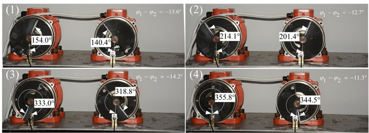 Phases of two exciters with frequency supply 210 r/min in steady state