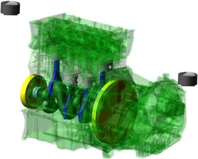 The MBS computational model – the crank train as the main module of the virtual engine