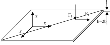 Schematic of applied force on the plate surface
