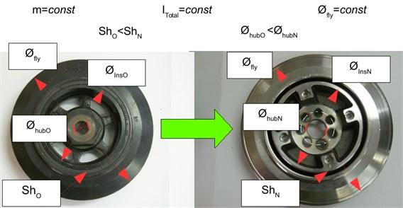 Redesigned torsional vibration damper-version before and after modification