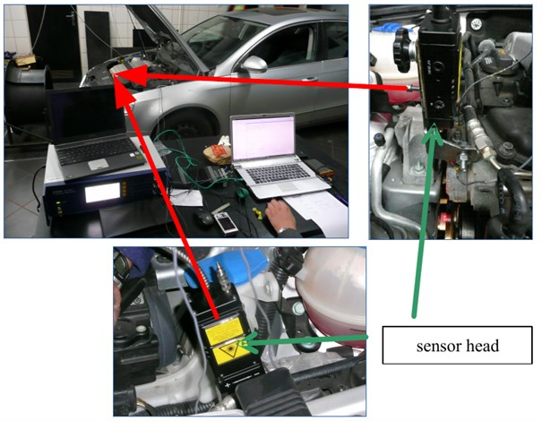 Research object and laser sensor of torsional vibrations Polytec