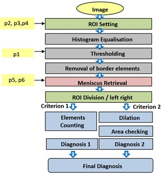 Image processing in detection of knee joints injuries based
