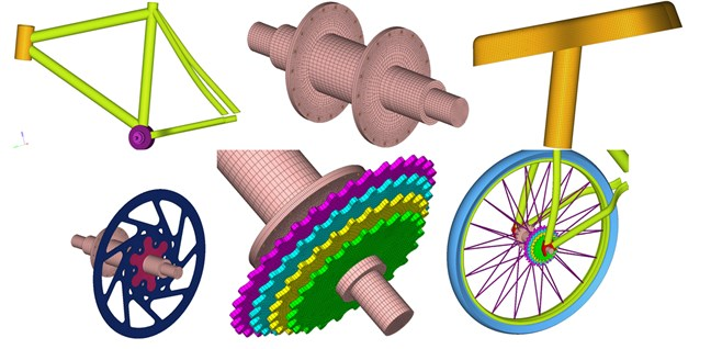 Finite element model of complete bicycles, parts and components