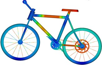 Strain contours of bicycles at different moments