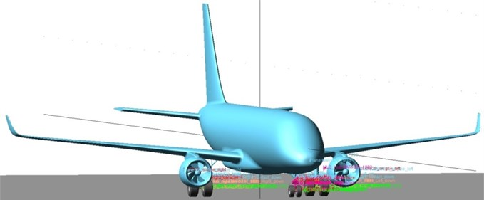 The simulated aircraft equipped with ETS