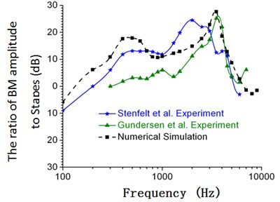 Comparison between the numerical and experimental data of Gundersen and Stenfelt (90 dB)