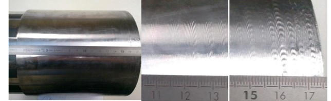 Surface of the tube after the last tool pass