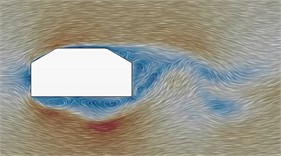 Flow status of case 1 to case 6 in the region of wake flow