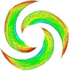 Relative velocity contours and 2D streamlines in the impeller at design condition