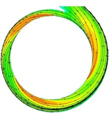 The contours and 2D streamline distributions in the volute at design condition