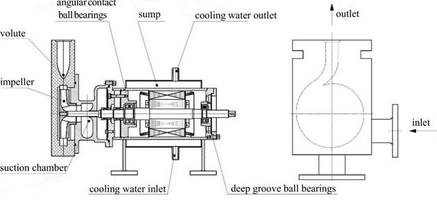 Schematic diagram of the model pump