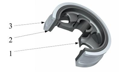 Crankshaft pulley with torsional vibration damper. 1 – hub, 2 – torsional spring,  3 – flywheel of damper [17]