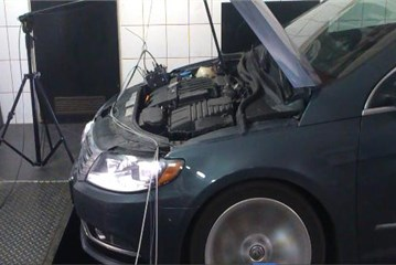 Examined VW Passat engine  of with mounted sensors