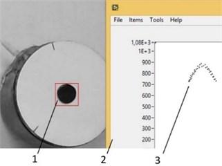 Object tracking and path plotting window. 1 – Tracking point on piezorobot, 2 – path of piezorobot, 3 – path plotting window