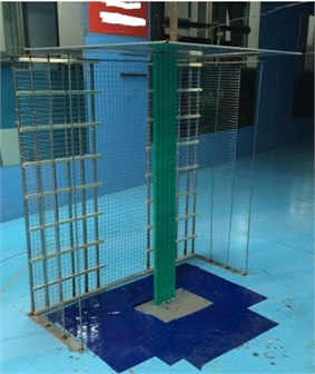 Experimental model in the wind tunnel