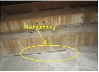Example of mud pumping of subgrade surface layer in Chinese high-speed railway