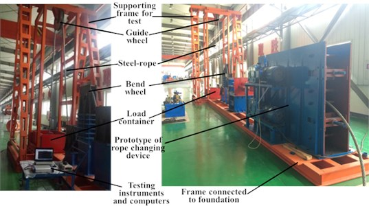 Test site map of steel-rope vibration experiment during rope changing