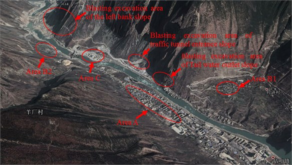 The distribution of blasting operation area and residential area of hydropower station #1