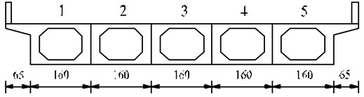 The general layout of simply supported hollow slab bridge (unit: cm)