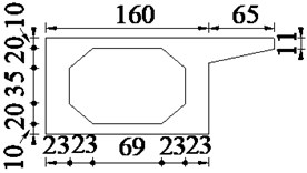 The cross section of simply supported hollow slab bridge (unit: cm)
