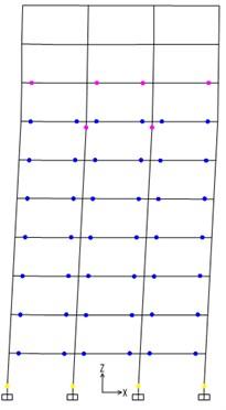 Plastic hinges of 10-story steel frame