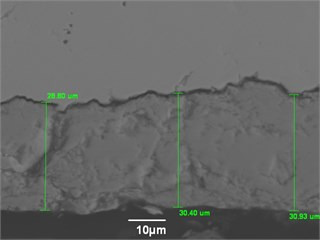 Microphotographs of two (2) samples with external oxide scale of various thickness with their corresponding chemical analysis. A solid EMAT signal was obtained for the sample on the a) while the sample on the b) has produces only a sparse signal. This was most probably due to lack of adherence between the scale and parent metal in the b) sample [13]