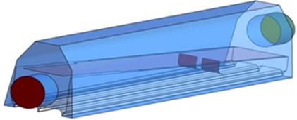 Geometric model and size of the optimized air knife model