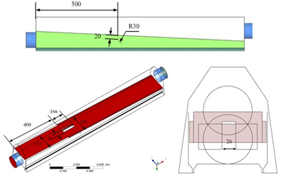 Geometric model and size of the optimized air knife model 3
