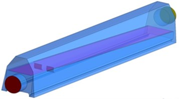 Geometric model and size of the optimized air knife model 4