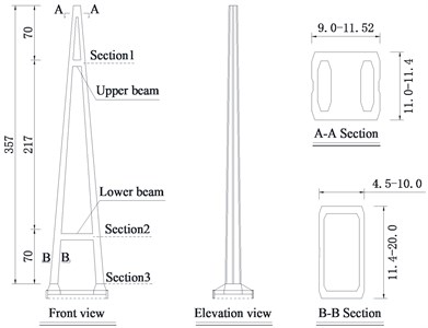 Elevation view and cross section of tower (unit: m)