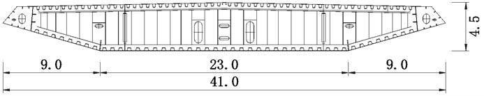 Baseline cross section of steel girder (unit: m)
