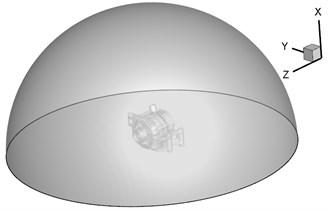Computational domain for the aerodynamic noise of alternators