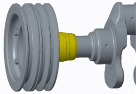 Crank pulley models (left: initial crank pulley; right: improved crank pulley)