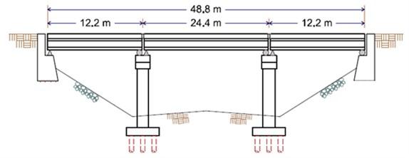 General elevation and concrete member reinforcing layout; deck detail; column [14]